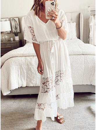 Lace/Solid 1/2 Sleeves A-line Little Black/Casual Maxi Dresses