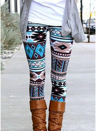 Geometric Print Print Long Casual Sexy Leggings