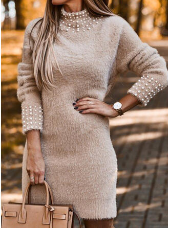 Solid Beaded Stand Collar Casual Long Sweater Dress