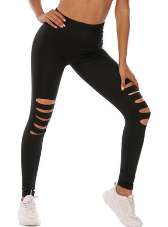 Solid Ripped Leopard Long Sexy Skinny Yoga Pants