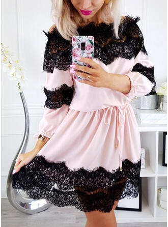Lace Long Sleeves A-line Above Knee Party Skater Dresses