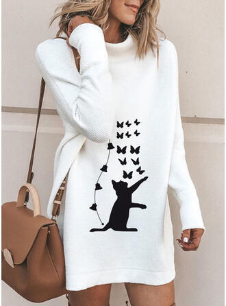 Animal Print Long Sleeves Shift Above Knee Casual Sweater Dresses