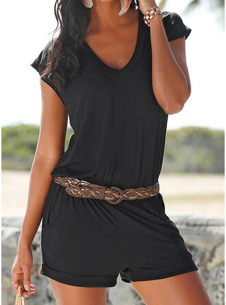 Solid Cotton V-Neck Short Sleeves Casual Vacation Romper