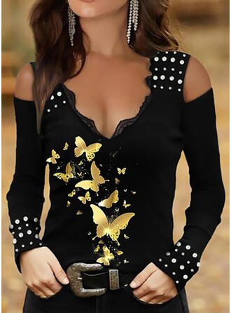 Print Butterfly Lace Cold Shoulder Long Sleeves T-shirts