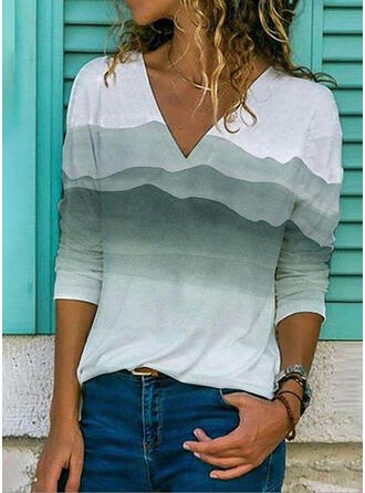 Tie Dye V-Neck Long Sleeves Casual T-shirts