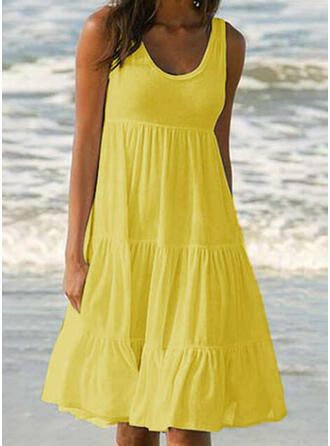 Solid Color Ruffles Strap Round Neck Bohemian Cute Casual Cover-ups Swimsuits