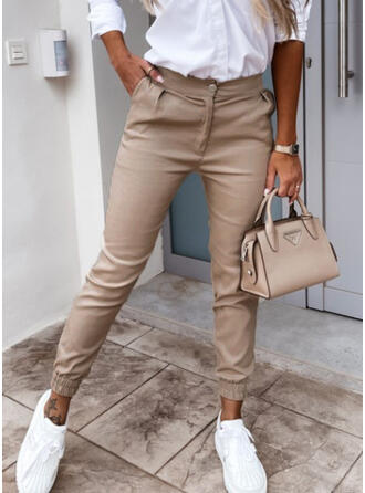 Solid Cropped Casual Pocket Button Pants