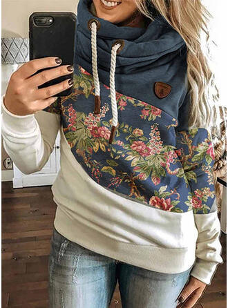 Color Block Floral Long Sleeves Hoodie