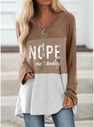 Color Block Figure V-Neck Long Sleeves Casual T-shirts