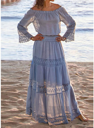 Lace/Solid Long Sleeves/Flare Sleeves A-line Casual/Vacation Maxi Dresses