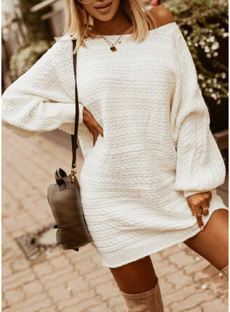 Solid Knit Long Sleeves Bat Sleeve Shift Above Knee Casual Sweater Dresses