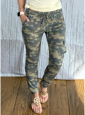Solid Camouflage Long Casual Plus Size Pocket Drawstring Pants