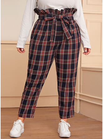 Plaid Plus Size Bowknot Casual Elegant Pants