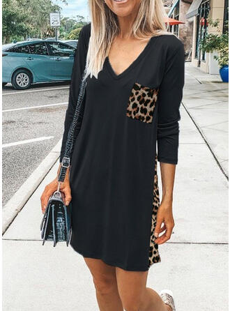 Leopard Long Sleeves Shift Above Knee Casual T-shirt Dresses