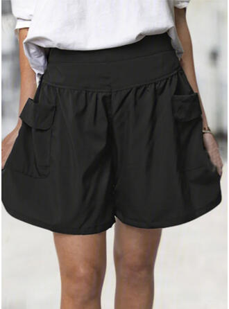 Solid Pockets Shirred Plus Size Above Knee Casual Sporty Shorts