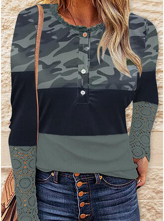 Camouflage Color Block Print Lace V-Neck Long Sleeves T-shirts