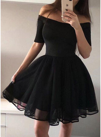 Solid 1/2 Sleeves A-line Above Knee Vintage/Little Black/Party/Elegant Dresses