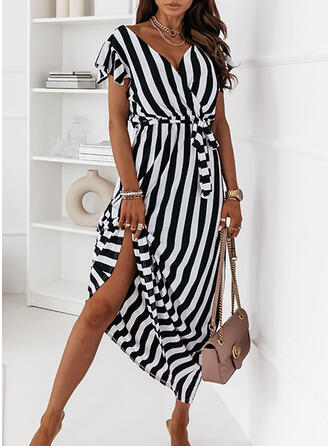 Striped Short Sleeves A-line Skater Casual Maxi Dresses
