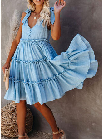 Solid Sleeveless A-line Knee Length Casual/Vacation Dresses