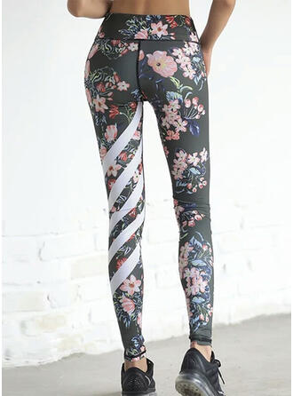 Striped Floral Long Skinny Sporty Yoga Leggings