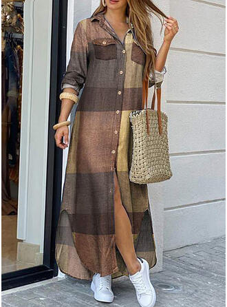 Plaid Long Sleeves Shift Shirt Casual Maxi Dresses