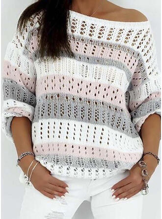 Color Block One Shoulder Sweaters