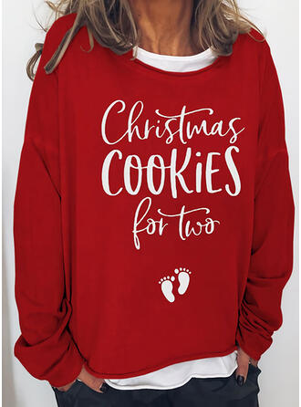 Print Figure Round Neck Long Sleeves Christmas Sweatshirt