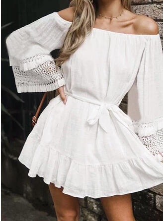 Lace/Solid Long Sleeves A-line Above Knee Casual/Vacation Dresses