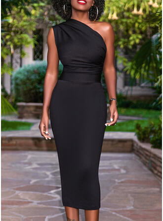 Solid Sleeveless Bodycon Little Black/Party Midi Dresses