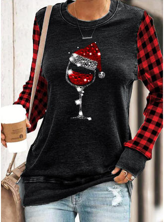 Grid Sequins Round Neck Long Sleeves Christmas Sweatshirt