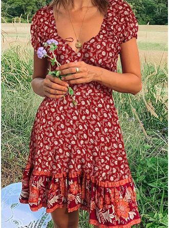 Print/Floral Short Sleeves A-line Knee Length Casual/Boho/Vacation Skater Dresses