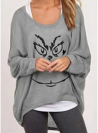 Print Round Neck Batwing Sleeve Casual T-shirts