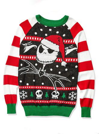 Polyester Animal Print Striped Ugly Christmas Sweater