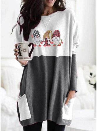 Print Color Block Leopard Round Neck Long Sleeves Christmas Sweatshirt