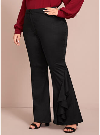 Solid Patchwork Plus Size Elegant Sexy Pants