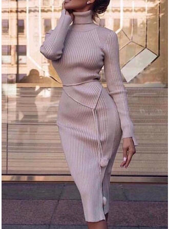 Solid Long Sleeves Bodycon Sweater Casual/Elegant Midi Dresses