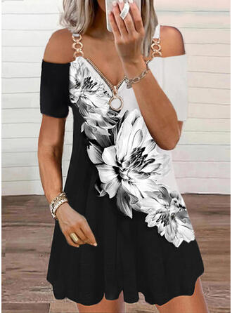 Print/Floral/Color Block Short Sleeves Shift Above Knee Casual Tunic Dresses