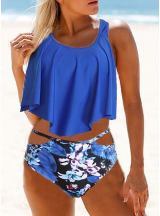 Floral High Waist Print Strap V-Neck Vintage Fresh Tankinis Swimsuits