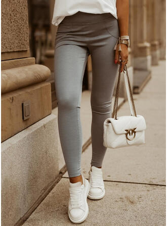 Solid Long Casual Plus Size Pants