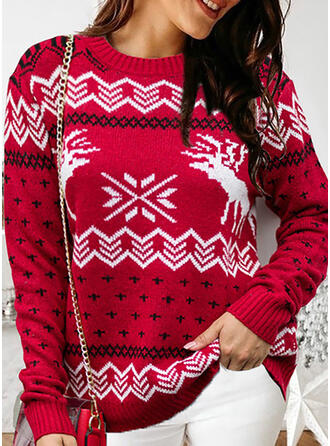 Print Round Neck Casual Christmas Sweaters