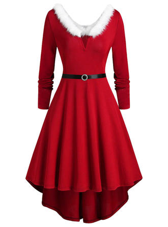 Solid Long Sleeves A-line Knee Length Christmas/Party Skater Dresses