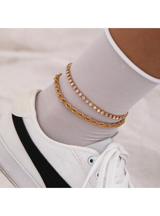 Fashionable Vintage Cool Alloy Rhinestones With Gold Plated Women's Ladies' Anklets 2 PCS