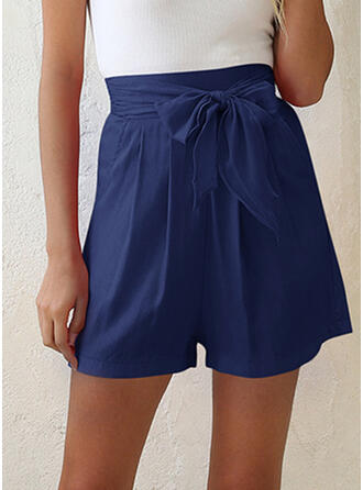 Pockets Shirred Above Knee Casual Elegant Shorts