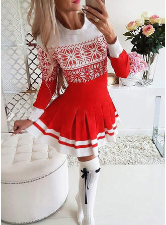 Print Long Sleeves A-line Above Knee Christmas/Casual Skater Dresses