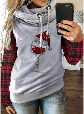 Grid Sequins Long Sleeves Christmas Sweatshirt