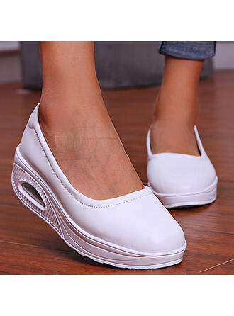 Women's Leatherette Flat Heel Flats Low Top Round Toe Slip On With Solid Color shoes