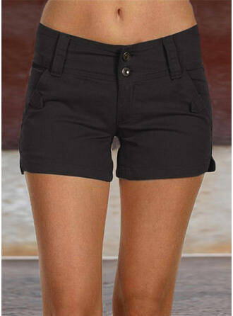 Pockets Shirred Plus Size Above Knee Casual Sexy Solid Shorts