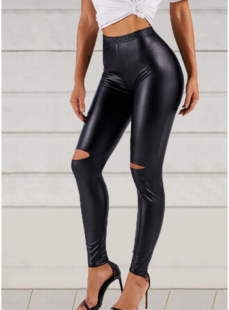 Solid Ripped Long Sexy Leather Pants Leggings