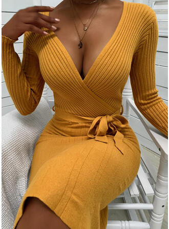 Solid Long Sleeves Bodycon Knee Length Casual/Elegant Sweater/Wrap Dresses