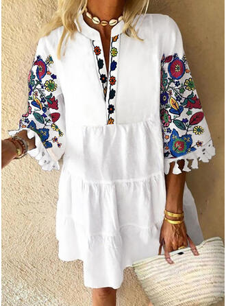 Print/Floral 3/4 Sleeves Shift Knee Length Casual/Vacation Dresses
